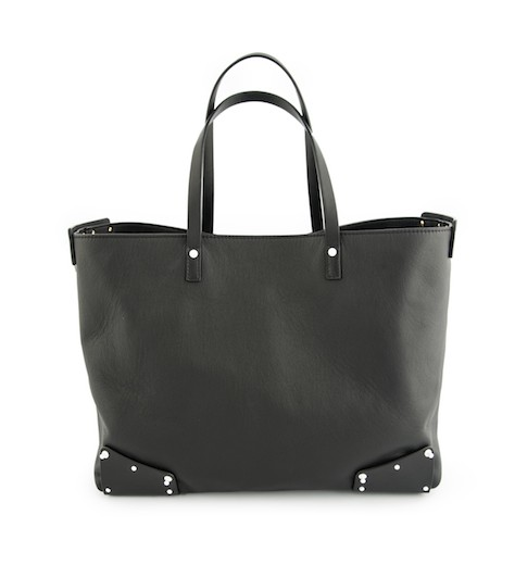 19zero6 shopping bag in pelle nera made in Italy